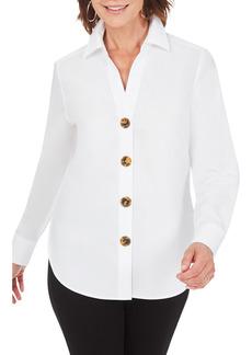 Petite Women's Foxcroft Aris Solid Button-Up Blouse