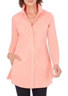 Petite Women's Foxcroft Cecilia Non-Iron Button-Up Tunic Shirt