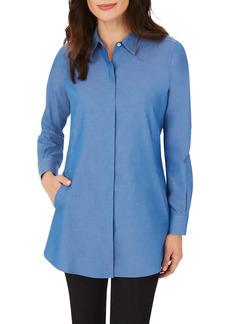 Petite Women's Foxcroft Cici Non-Iron Tunic Blouse