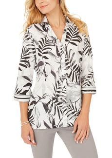 Petite Women's Foxcroft Liberty 34 Palms Wrinkle-Free Cotton Sateen Blouse