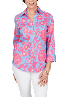 Petite Women's Foxcroft Mary Floral Wrinkle Free Button-Up Shirt