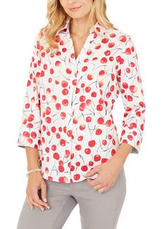Petite Women's Foxcroft Mary Sweet Cherries Wrinkle Free Shirt