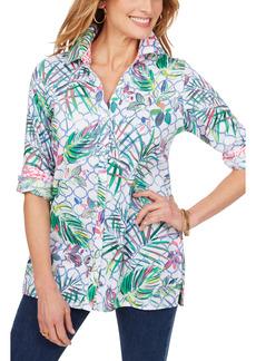 Petite Women's Foxcroft Tropical Wrinkle-Free Cotton Sateen Shirt