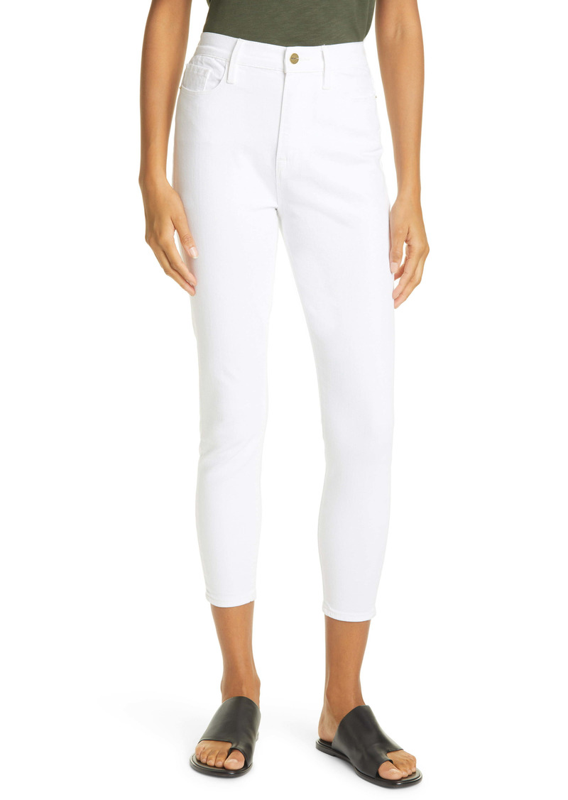 FRAME Ali High Waist Cigarette Crop Skinny Jeans (Blanc)