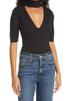 FRAME Cutout Silk & Cotton Blend Sweater