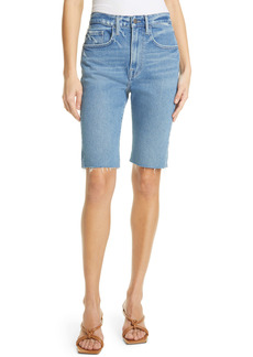 FRAME High Waist Raw Edge Denim Bermuda Shorts (Clarin)
