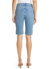 FRAME High Waist Raw Edge Denim Bermuda Shorts (Clarin)