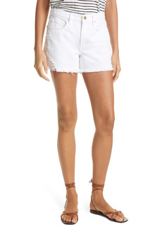 FRAME Le Brigette Frayed Denim Shorts (Blanc Soho)
