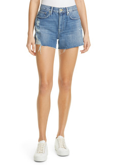 FRAME Le Brigette High Waist Raw Edge Denim Shorts (Chavez Soho)