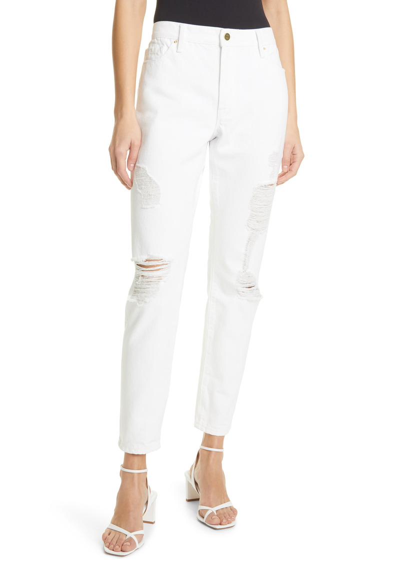 FRAME Le Garcon Distressed Ankle Boyfriend Jeans (Rumpled Blanc Rips)