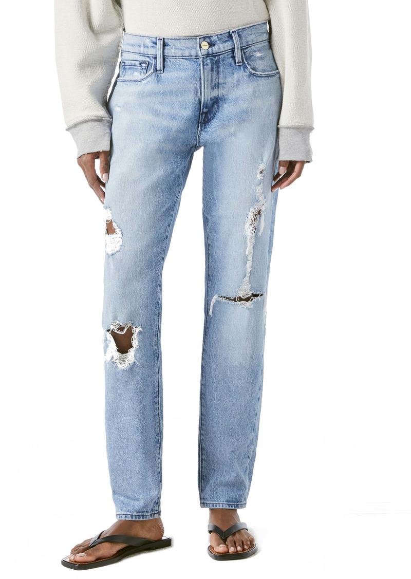 FRAME Le Garçon Ripped Straight Leg Jeans (Beldon)