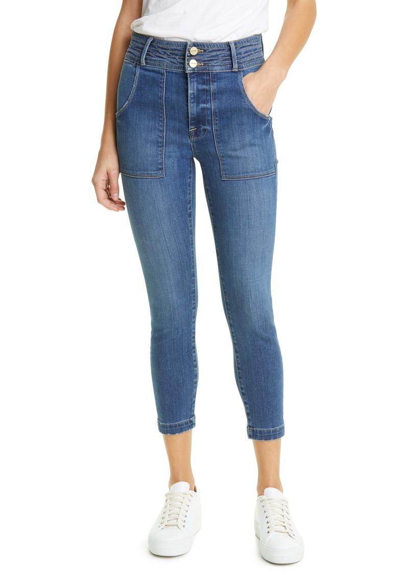 FRAME Le High Patch Pocket Crop Skinny Jeans (Stallion)