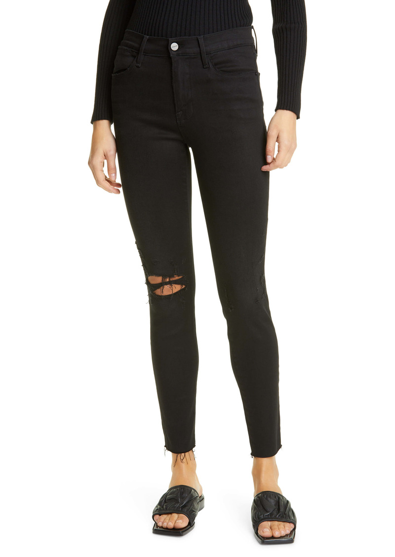 FRAME Le High Skinny Ripped Raw Hem Ankle Jeans (Blackfish Rips)
