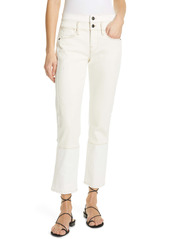 FRAME Le High Spring Mix High Waist Distressed Crop Straight Leg Jeans (Vintage White Multi)