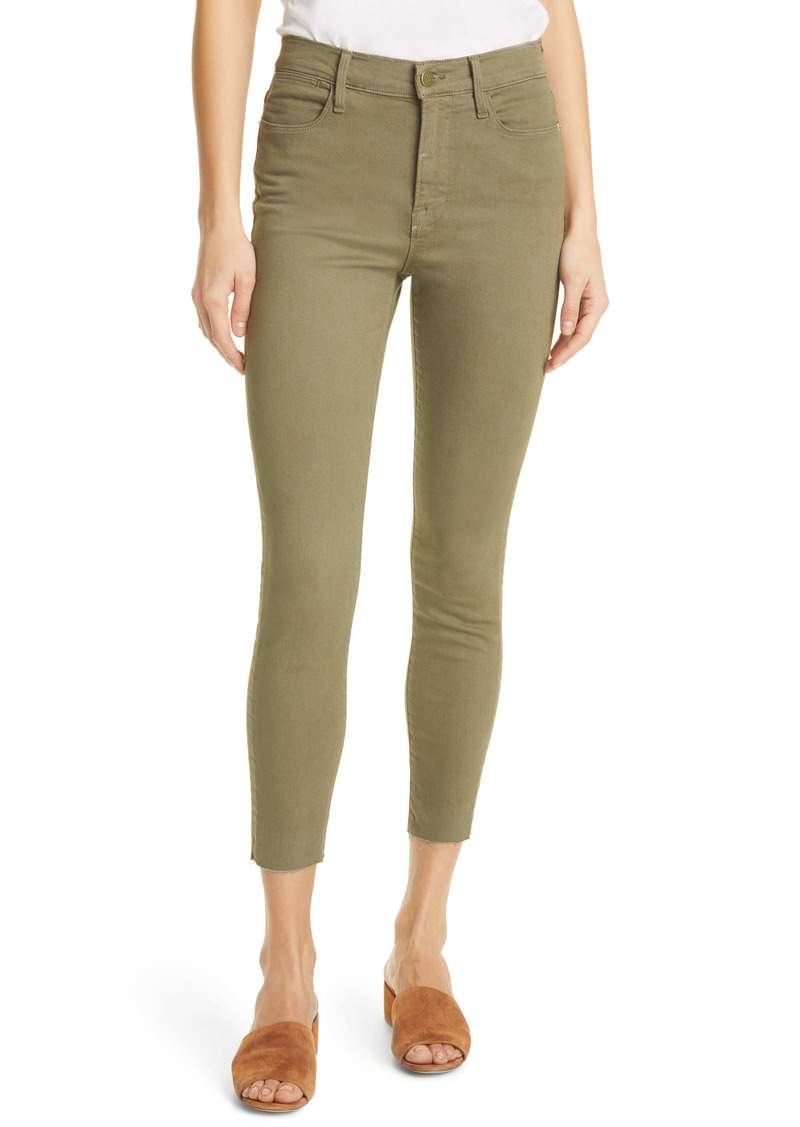 FRAME Le High Waist Crop Skinny Jeans (Washed Military)