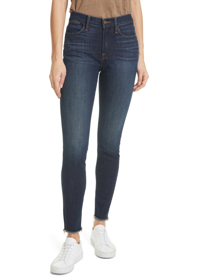 FRAME Le High Waist Fray Hem Ankle Skinny Jeans (Filbert)
