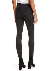 FRAME Le High Waist Patchwork Skinny Jeans (Noir Multi)