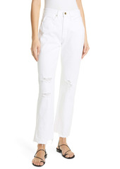 FRAME Le Hollywood High Waist Ripped Crop Straight Leg Jeans (Blanc Rips)