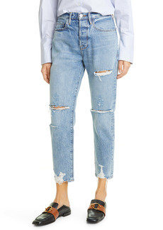 FRAME Le Original Ripped High Waist Ankle Boyfriend Jeans (Cascade Blue Rips)