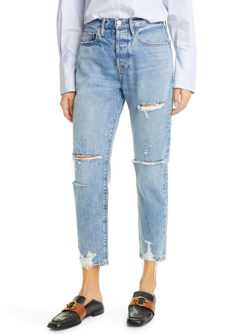 FRAME Le Original Ripped High Waist Ankle Boyfriend Jeans (Cascade Blue Rips)