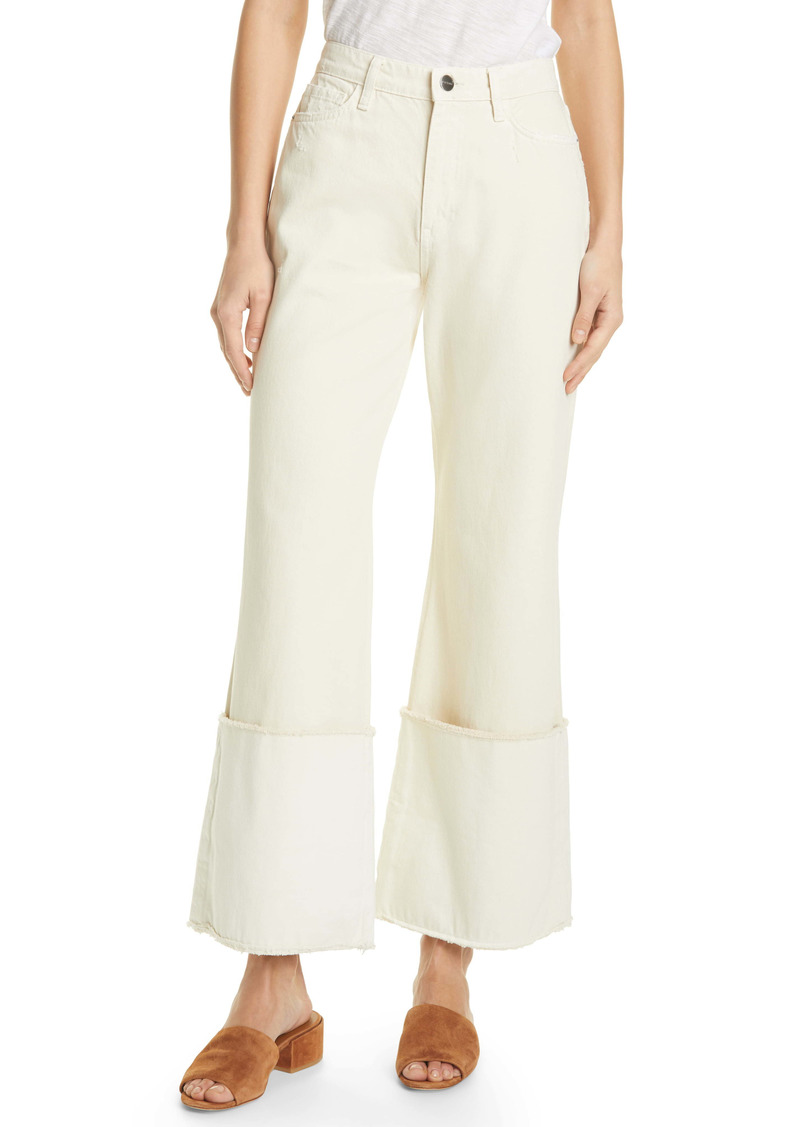 FRAME Le Pixie Sailor Cuff Flare Jeans (Vintage White)