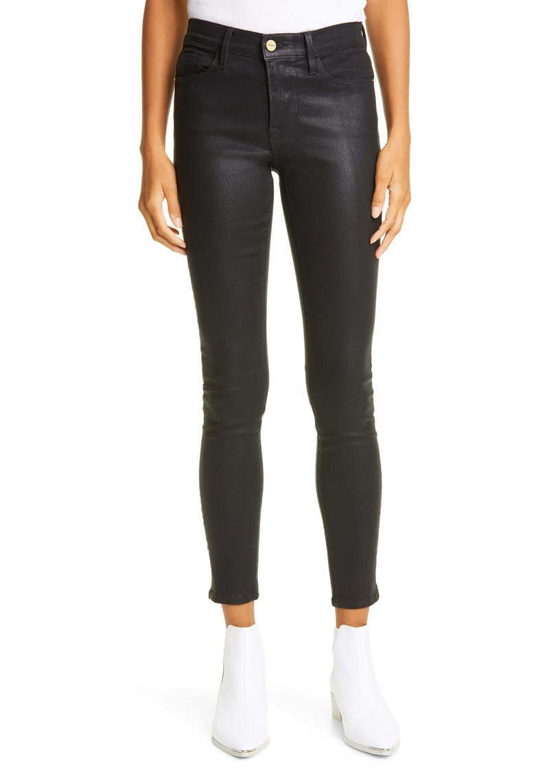 FRAME Le Skinny de Jeanne Coated Ankle Jeans