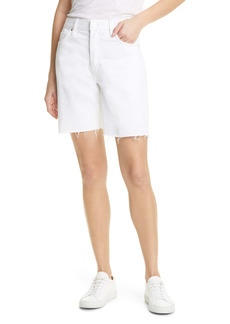 FRAME Le Slouch High Waist Raw Edge Bremuda Shorts (Rumpled Blanc)