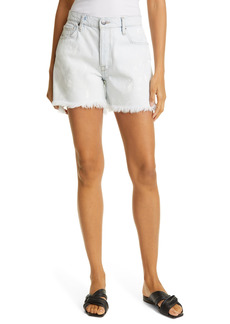 FRAME Le Slouch High Waist Raw Hem Shorts (Caribbean Spray)