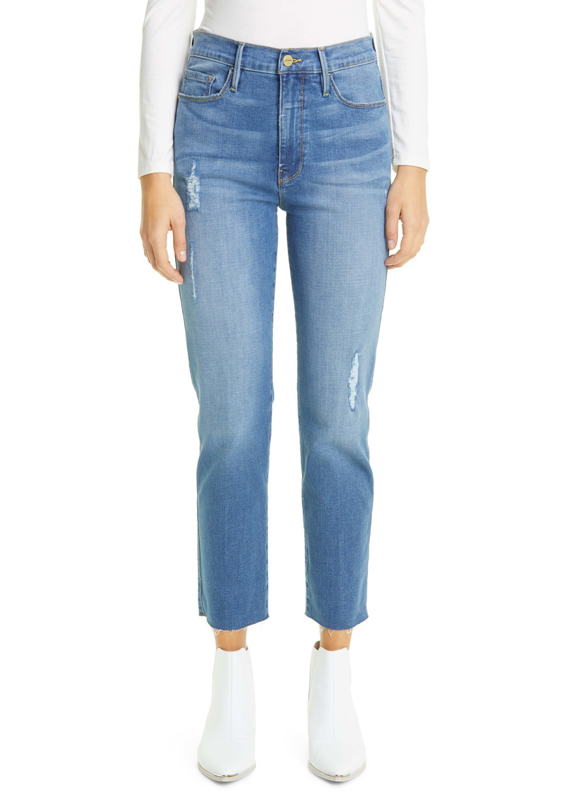 FRAME Le Sylvie Distressed High Waist Raw Hem Crop Straight Leg Jeans (Echo Park)