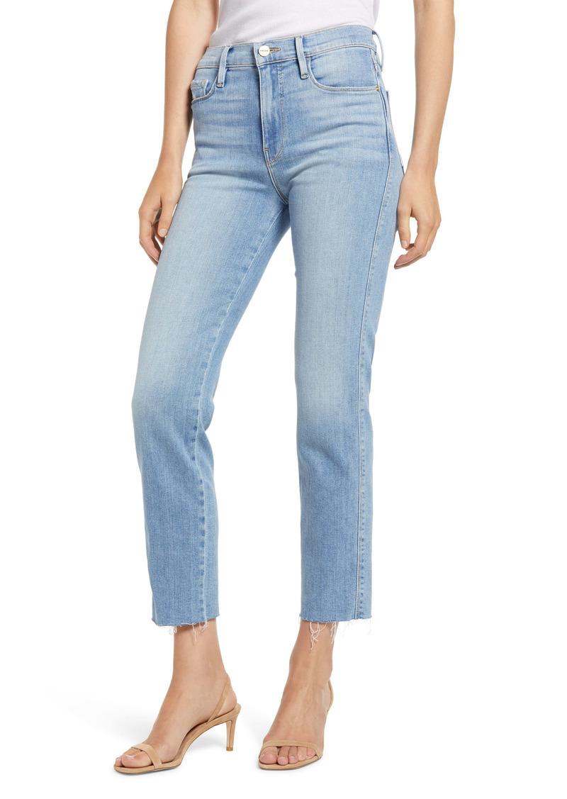 FRAME Le Sylvie High Waist Raw Hem Crop Jeans (Overturn)
