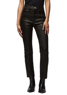 FRAME Le Sylvie High Waist Slender Straight Leg Lambskin Leather Pants