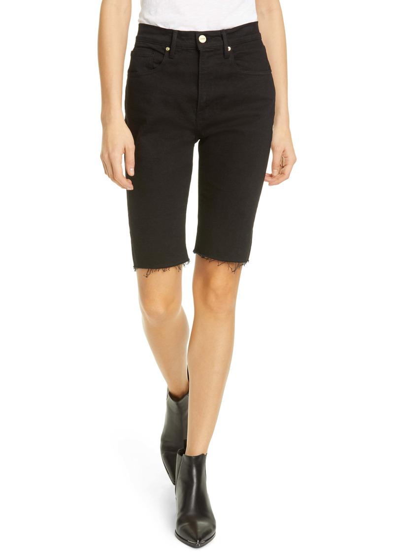FRAME Le Vintage High Waist Raw Edge Bermuda Shorts (Blanc)
