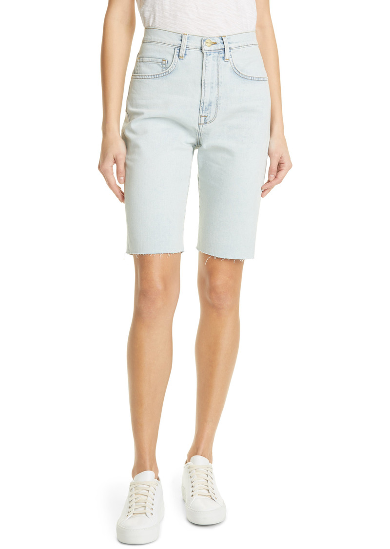 FRAME Le Vintage Raw Edge High Waist Denim Bermuda Shorts (Divisadero)