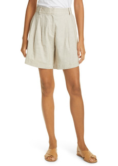 FRAME Pleated Linen Blend Shorts