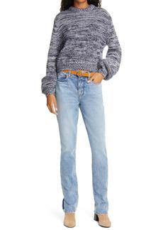 FRAME Reverse Stitch Wool Blend Crewneck Sweater