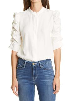 FRAME Shirred Sleeve Silk Blouse