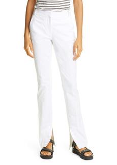 FRAME Slit Hem Slim Cotton Blend Pants