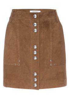 FRAME Stud Detail Suede Miniskirt