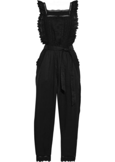 Frame Woman Belted Broderie Anglaise Ramie Jumpsuit Black