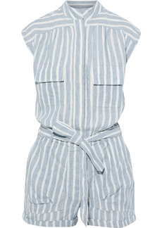 Frame Woman Belted Striped Linen Playsuit Sky Blue