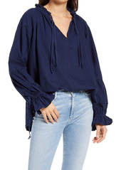 Free People Alpine Denim Tie Neck Top