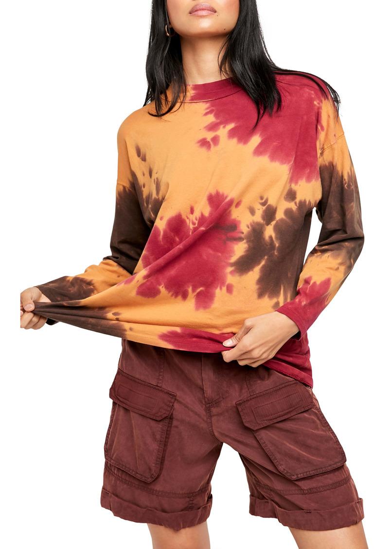 Free People Be Free Tie Dye Oversize Long Sleeve T-Shirt