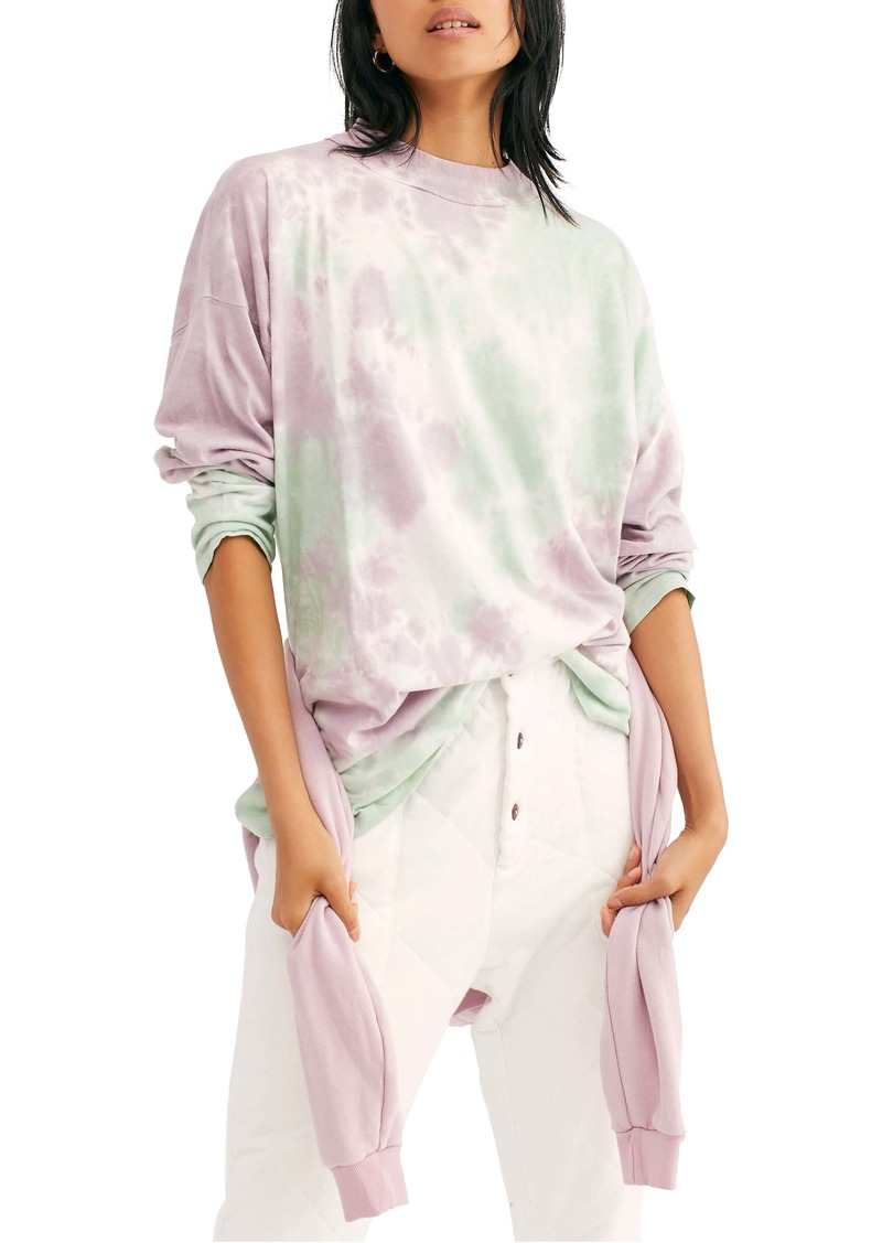 Free People Be Free Tie Dye Oversize Long Sleeve T-Shirt