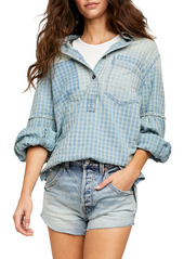 Free People Check Embroidered Pullover Shirt