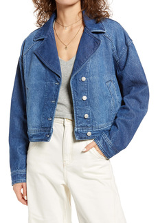 Free People Crop Denim Trucker Jacket