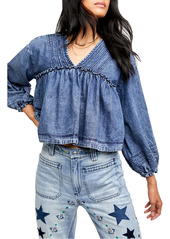 Free People Denim Crop Blouse