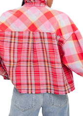 Free People Emily Plaid Crop Snap Front Shirt