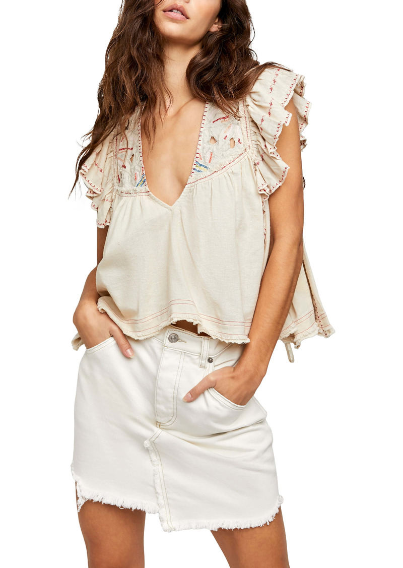 Free People Hailey Embroidered Top