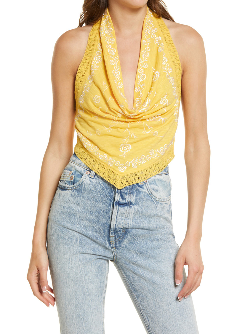 Free People How's It Going Embroidered Halter Tank