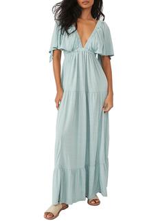 Free People La La Tiered Flutter Sleeve Maxi Dress